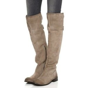 Frye Shirley Ash Beige Over-The-Knee Riding Boot